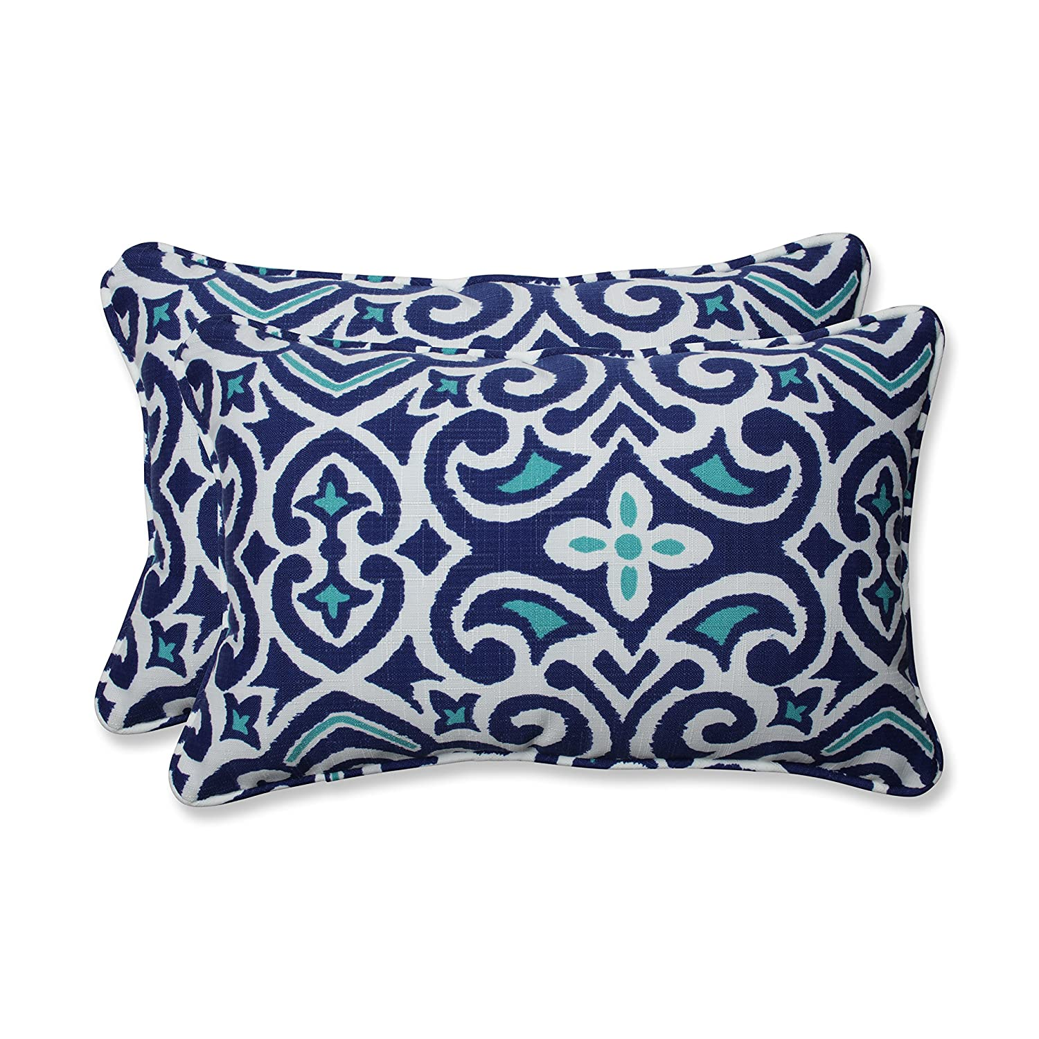 Pillow Perfect Outdoor Indoor New Damask Marine Rectangular Throw Pil, 2 Piece