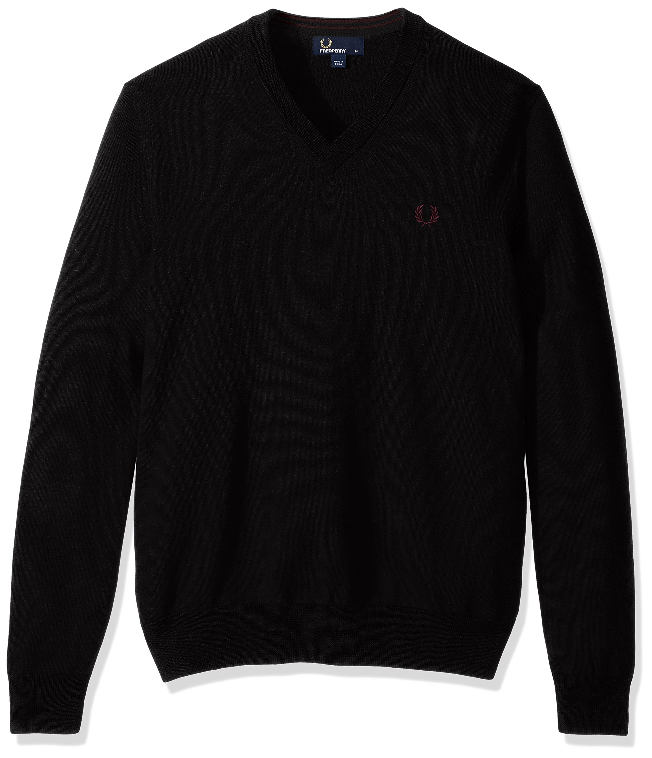 Fred Perry Men's Classic Cotton V-Neck Sweater, Black, X-Large