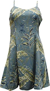 product image for Paradise Found Womens Heliconia Sketch Princess Seam Mini Sundress in Slate Blue - M