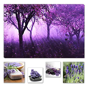 Eco light wall art canvas bundle purple forest light abstract fantasy 60 x 90 cm and