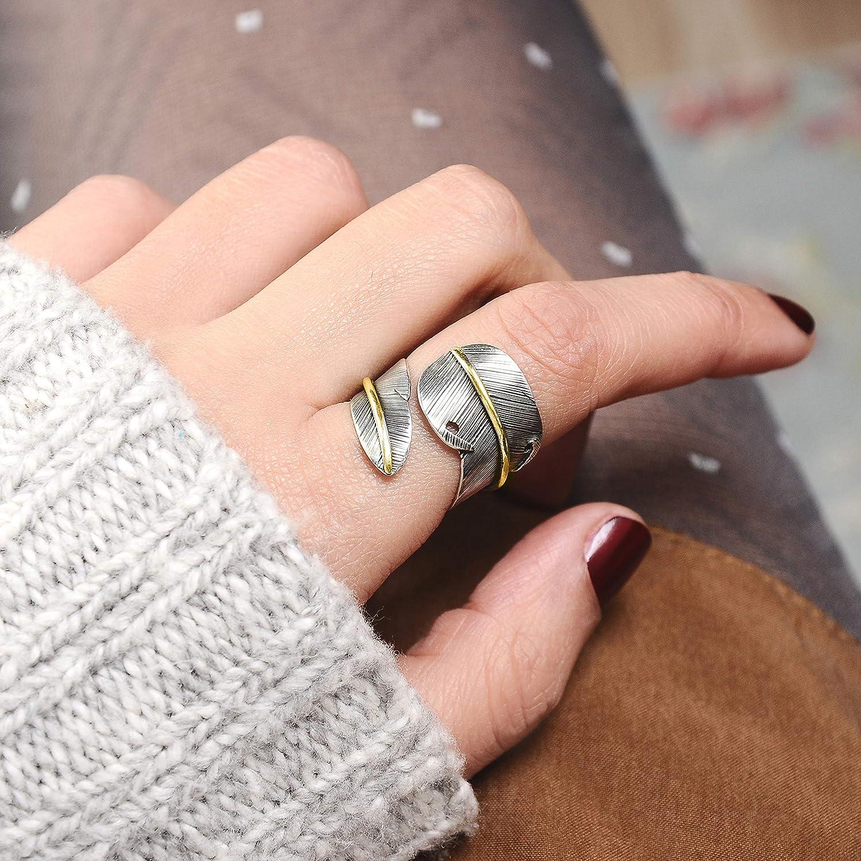 FORFOX Vintage Handmade 925 Sterling Silver Leaf Cuff Ring for Men Women Adjustable Q 1//2-V 1//2