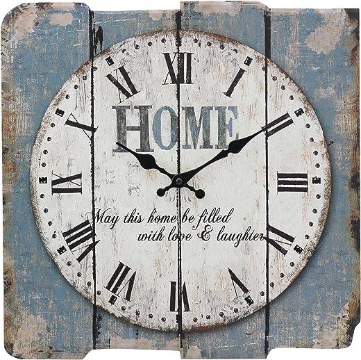 """ساعة حائط مربعة وقديمة الشكل بارقام رومانية ولون ازرق وابيض من ستونبراير، مظهر انيق وعتيق لاضافة لمسات ديكور للمنزل اصنعه بنفسك للمطبخ وغرفة المعيشة وغرفة النوم تعمل بالبطارية 15"""" SB-6158A"""