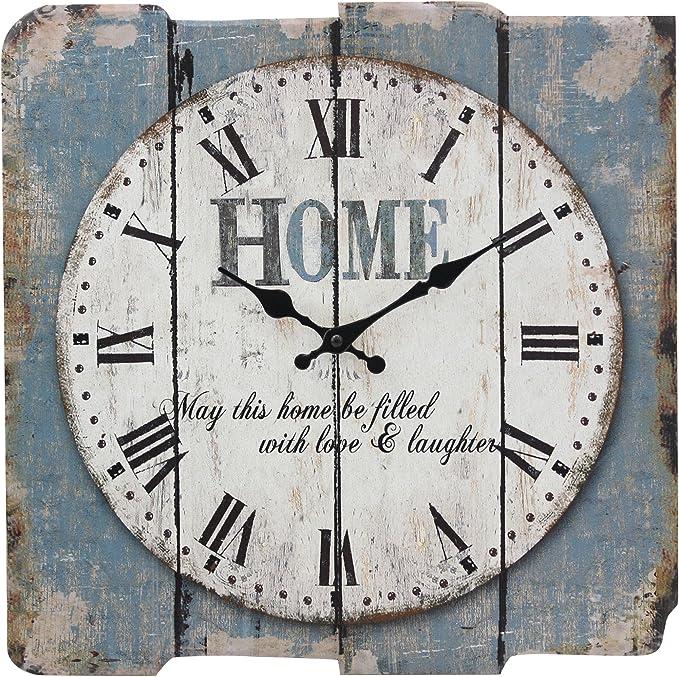 Stonebriar Sb 6158a Worn Blue 15 Square White Wall Clock Home Kitchen Amazon Com