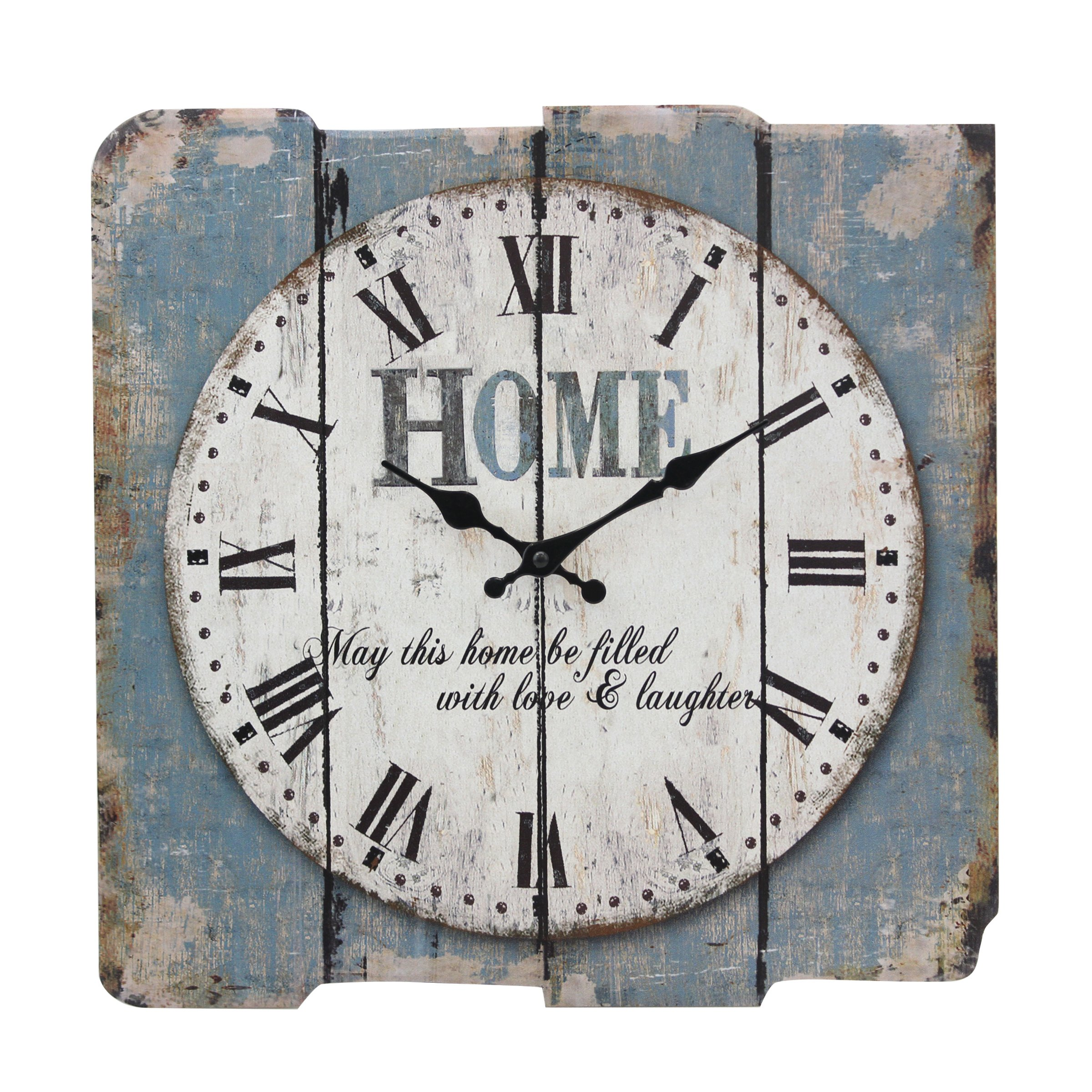 Stonebriar Square 15'' Rustic Farmhouse Worn Blue and White Roman Numeral Wall Clock, Shabby Chic and DIY Home Decor Accents for the Kitchen, Living Room, and Bedroom, Battery Operated by Stonebriar