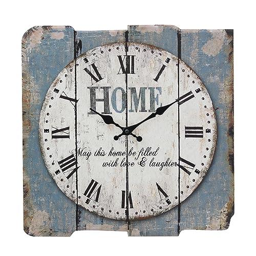 Stonebriar Worn Blue 15 Square White Wall Clock