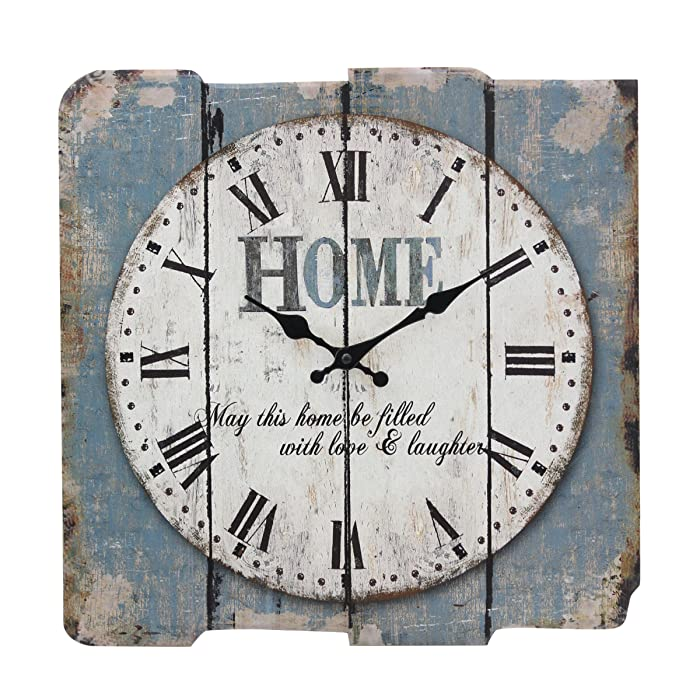 "Stonebriar Square 15"" Rustic Farmhouse Worn Blue and White Roman Numeral Wall Clock, Shabby Chic and DIY Home Decor Accents for the Kitchen, Living Room, and Bedroom, Battery Operated"