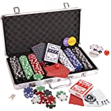 Silly Goose Poker Chip Set, Poker Chips (300/11.5 gr), Color Dice (5), Playing Cards (2) Aluminum Case w/Key (1…