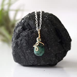 Emerald Charm Pendant - 14K Gold and 925 Sterling Silver - 18 Inch Necklace
