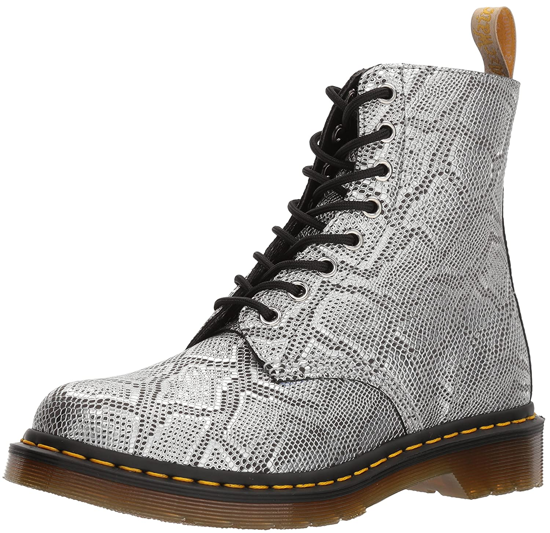 Dr. Martens Women's Vegan Pascal Metallic Fashion Boot B072QZN2LX 6 Medium UK (8 US)|Silver Metallic Snake