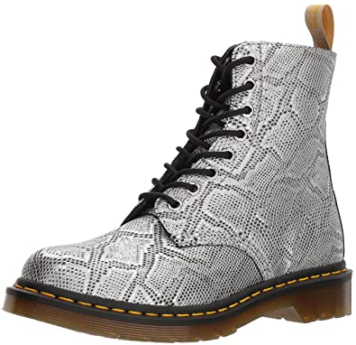 edb33b1a1 Dr. Martens Women's Vegan Pascal Fashion Boot, Silver Metallic Snake, 7  Medium UK