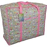Grand sac de stockage bleu et rose avec poche. Motif des moutons fou. Pour jouets, lavage etc.