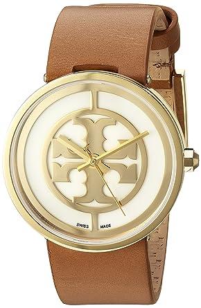 162f76bc656b Amazon.com  Tory Burch Women s Reva - TRB4020 Gold Tan One Size  Watches