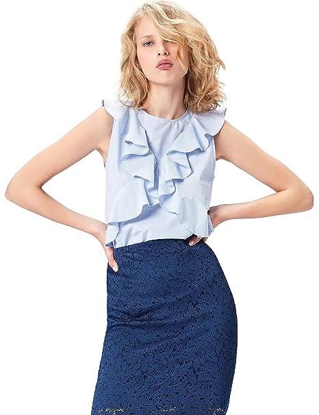 FIND Top Casual de Rayas con Volantes para Mujer , Multicolor (White/Blue)