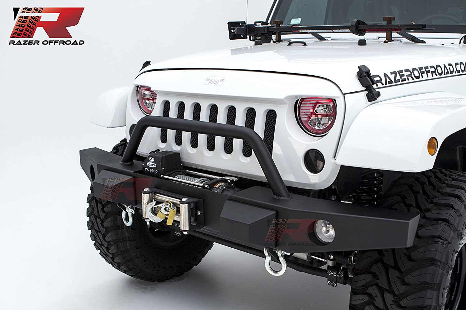 Black Razer Auto Black Textured Rock Crawler Front Bumper With Fog Lights Hole /& 2x D-Ring /& Winch Plate for 07-17 Jeep Wrangler JK