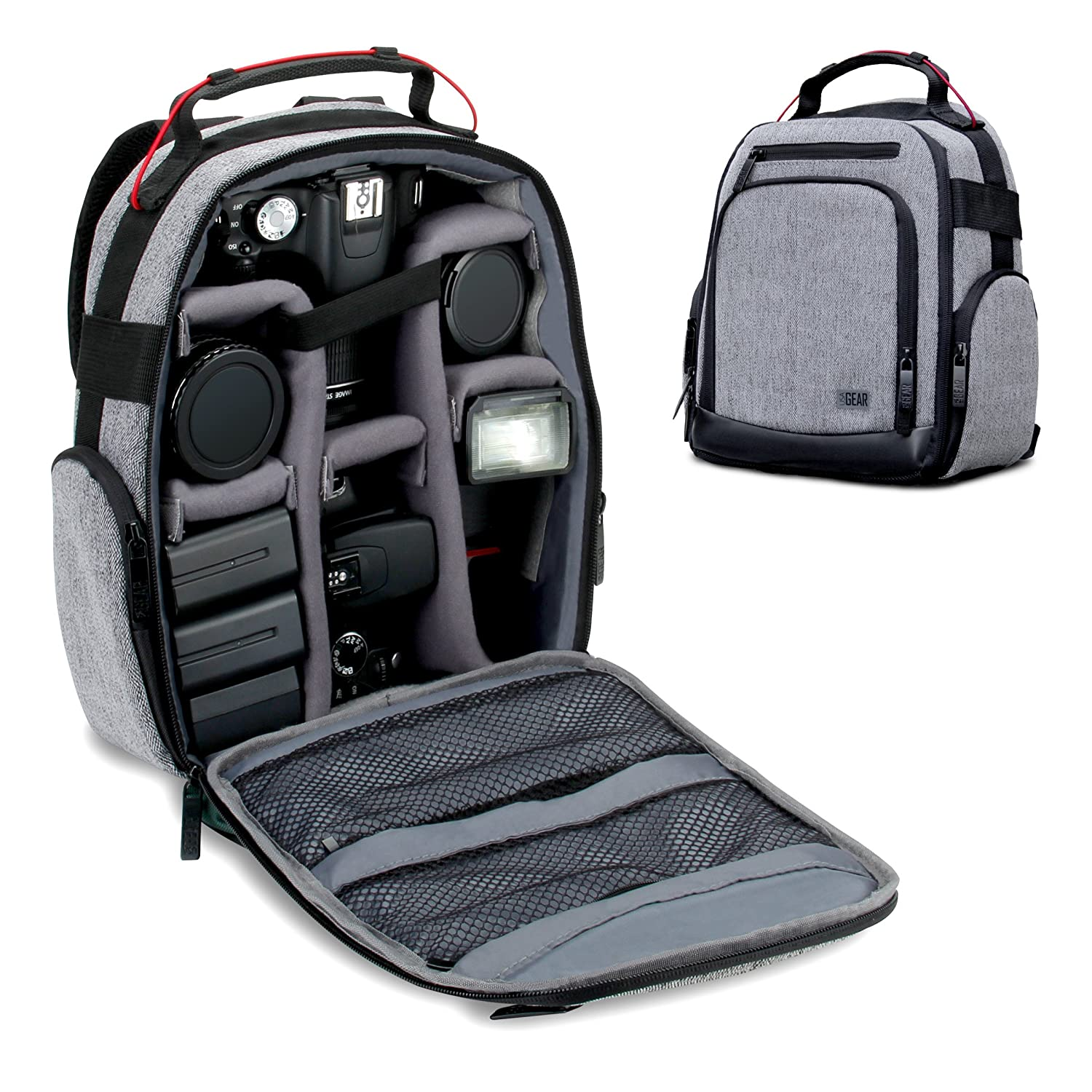 USA GEAR Portable Camera Backpack for DSLR/SLR (Gray) w/Customizable Accessory Dividers, Weather Resistant Bottom, Comfortable Back Support - Compatible w/Canon EOS T5/T6 - Nikon D3300/D3400 & More