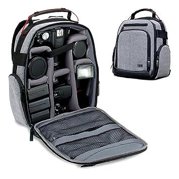 USA Gear mochila compacta para cámara digital (gris) con separadores de accesorios personalizables, parte inferior resistente a la intemperie, cómodo ...