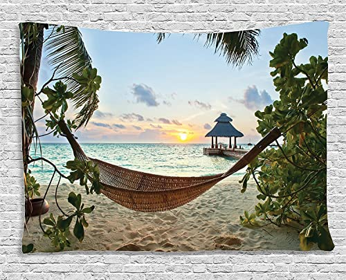 Ambesonne Beach Tapestry, Hammock on Sandy Beach Palm Trees and Wooden Jetty Sunset View Print, Wide Wall Hanging for Bedroom Living Room Dorm, 60 X 40 , Green Brown