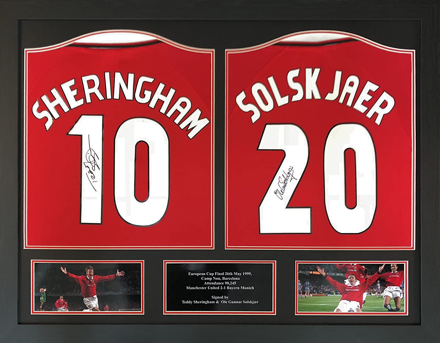 a13839aaaae Ole Gunnar Solskjaer   Teddy Sheringham double signed and framed Manchester  United 1999 Champions League Final shirts display with COA and proof  ...