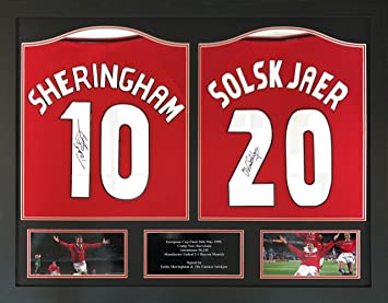 4329ed46d Ole Gunnar Solskjaer   Teddy Sheringham double signed and framed Manchester  United 1999 Champions League Final