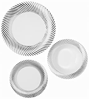 Party Joy 75-Piece Plastic Dinnerware Set | Swirl Collection | (25) Dinner  sc 1 st  Amazon.com & Amazon.com: Party Joy 75-Piece Plastic Dinnerware Set | Modern ...