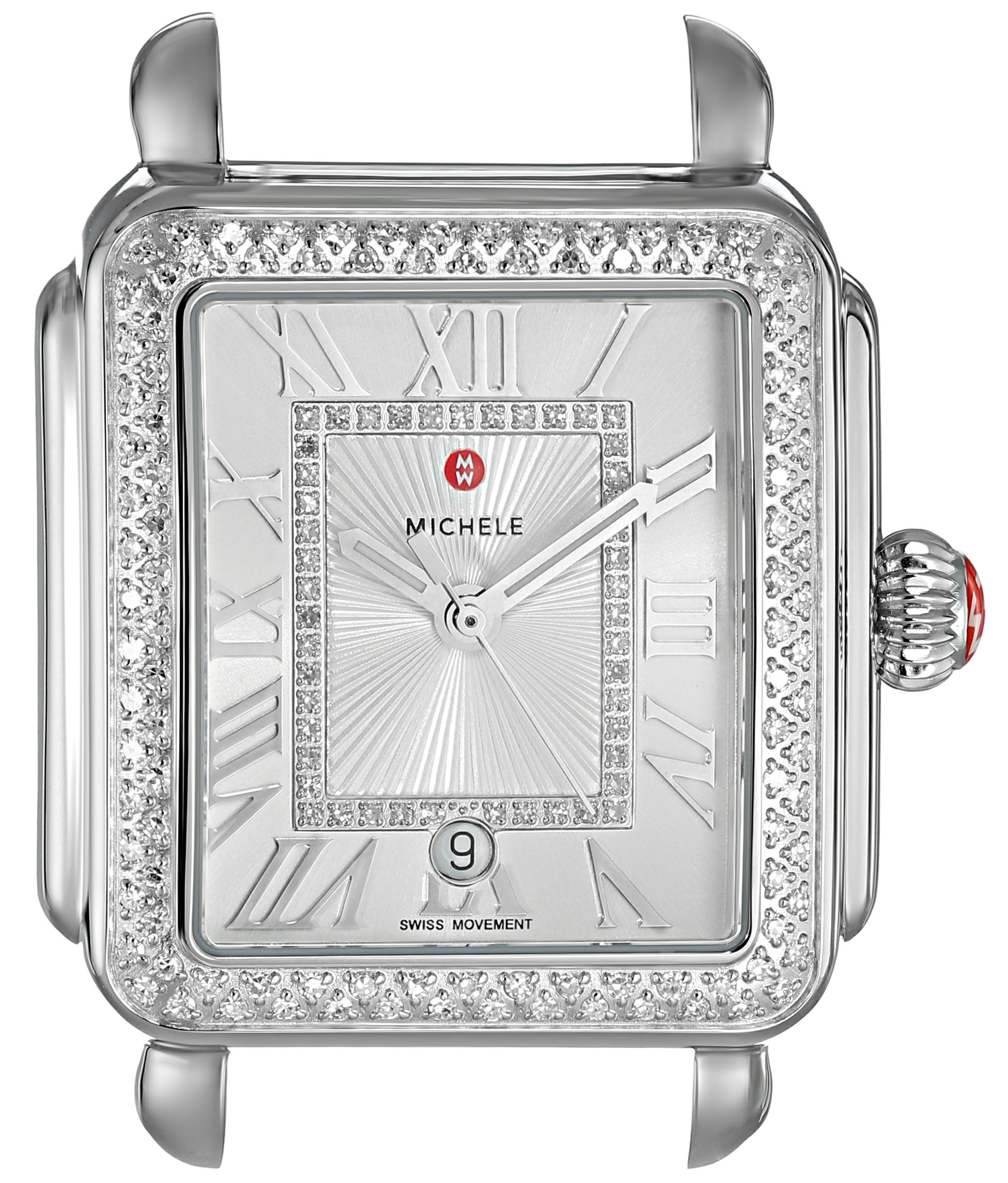 MICHELE Women's 'Deco Head' Swiss Quartz Stainless Steel Casual Watch, Color:Silver-Toned (Model: MW06T01A1018)