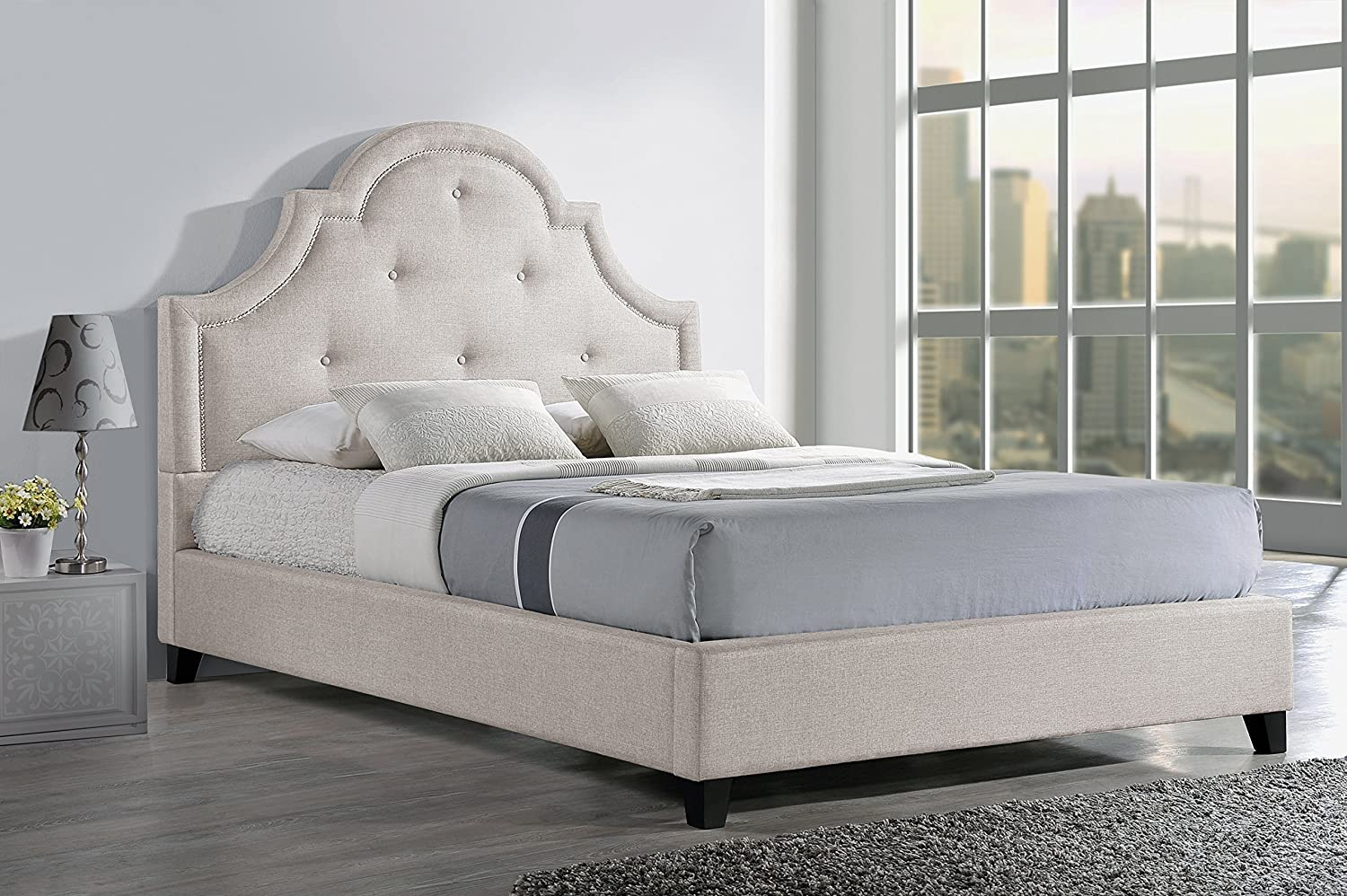 Baxton Studio Colchester Linen Modern Platform Bed - King - Light Beige