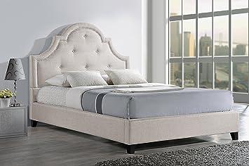 baxton studio colchester linen modern platform bed king light beige