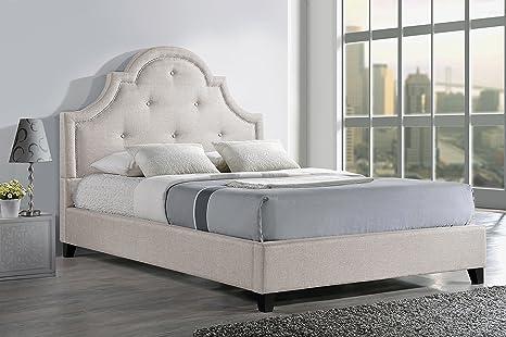 Baxton Studio Colchester Linen Modern Platform Bed, Full, Light Beige