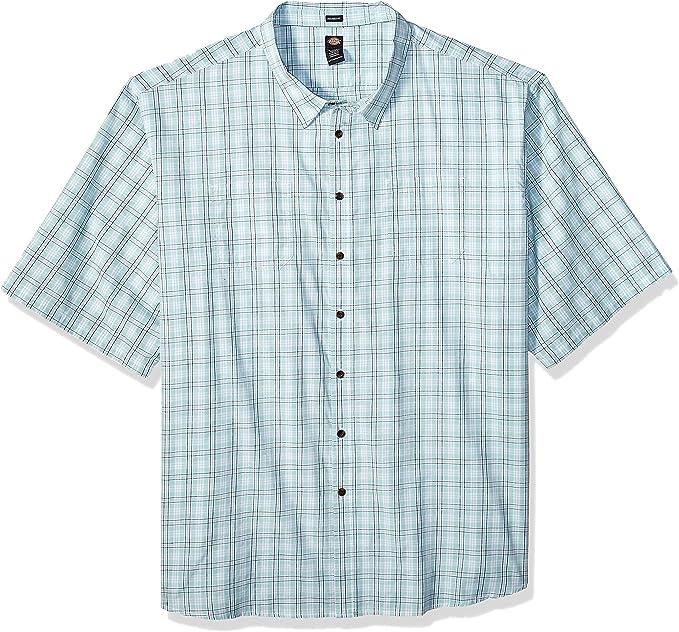 Dickies Mens Modern Fit Yarn Dyed Short Sleeve Flex Plaid Shirt