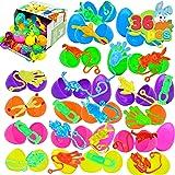 JOYIN - Juego de 36 huevos de Pascua prellenados con goma elástica para cestas de niños, decoración de Pascua, juego de caza