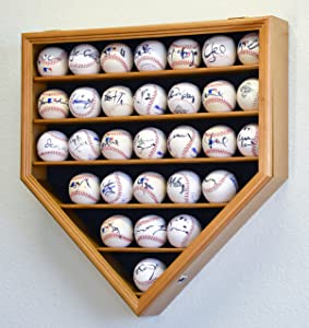 30 Baseball Ball Display Case Cabinet Holder Rack Home Plate Shaped w/98% UV Protection- Lockable -Oak