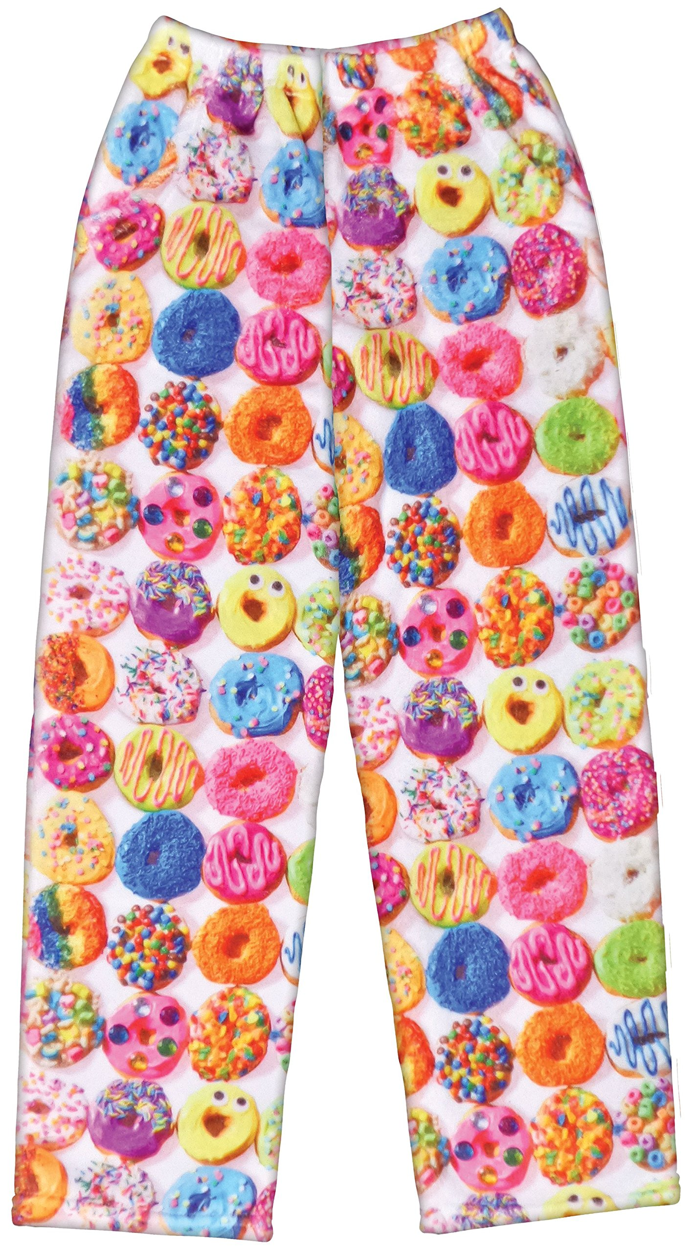 iscream Big Girls Fun Print Plush Pants - Dozens of Donuts, X-Large