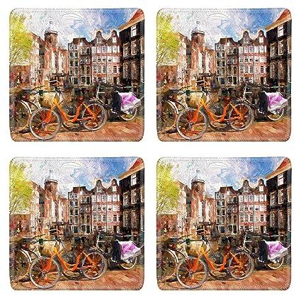 Amazon com | Luxlady Square Coaster Famous Amsterdam city in Holland