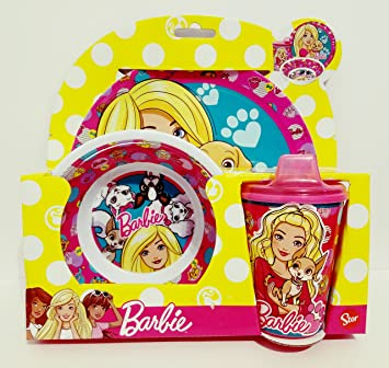 3 Piece Kids Barbie Dinnerware Set  sc 1 st  Amazon.com & Amazon.com: 3 Piece Kids Barbie Dinnerware Set: Baby