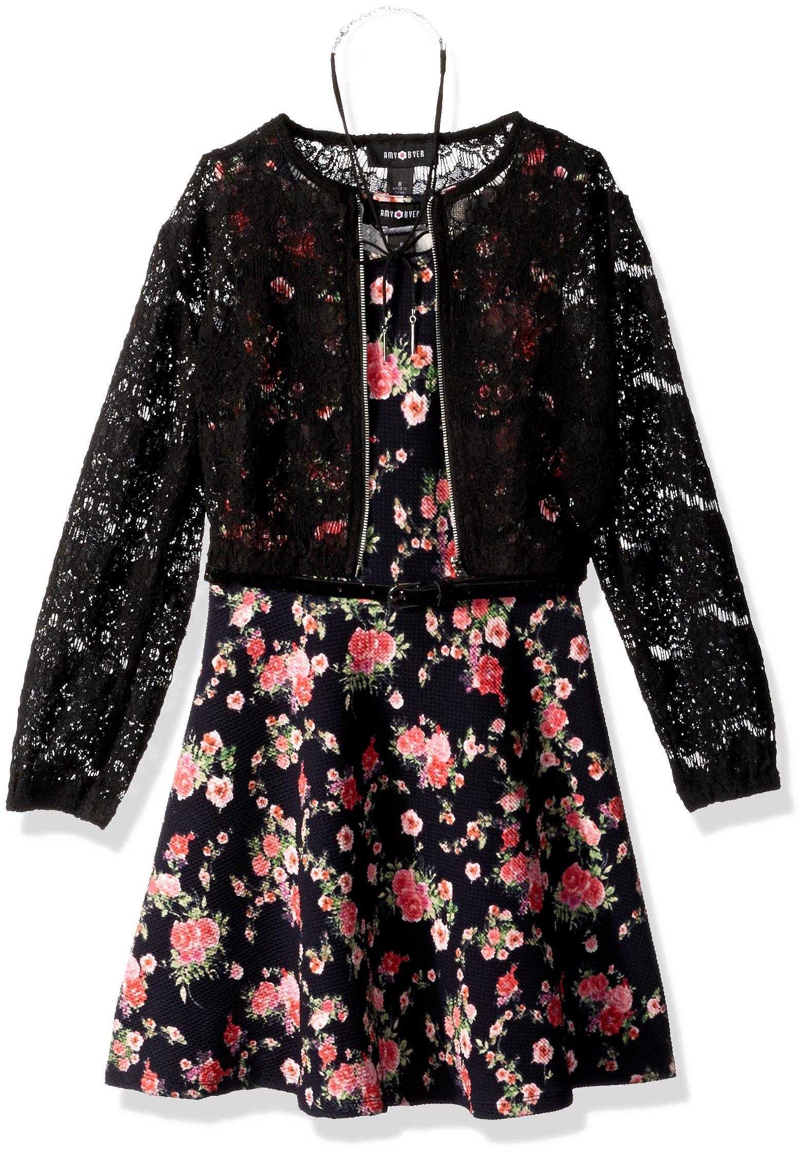 Amy Byer Big Girls' Print Knit Dress with Lace Bomber Jacket, Pat g/Multi, 8 by Amy Byer