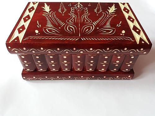 Enorme caja puzzle de rompecabezas caja de joyería mágica regalo tesoro premium nueva caja muy grande caja de misterio hecho a mano rojo tallado rompecabezas de madera de almacenamiento de madera: Amazon.es: