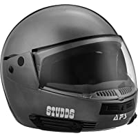 Studds Full Face Helmet Ninja Pastel (Plain Gun Grey, L)
