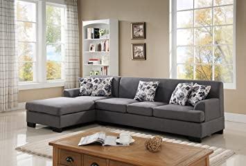 US Pride Furniture S0073 2PC Allen Modern Fabric Reversible Sectional Sofa  Set, Grey