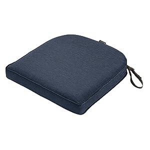 "Classic Accessories Montlake Cont. Seat Cushion Foam & Slip Cover, Heather Indigo, 18x18x2"" Thick"