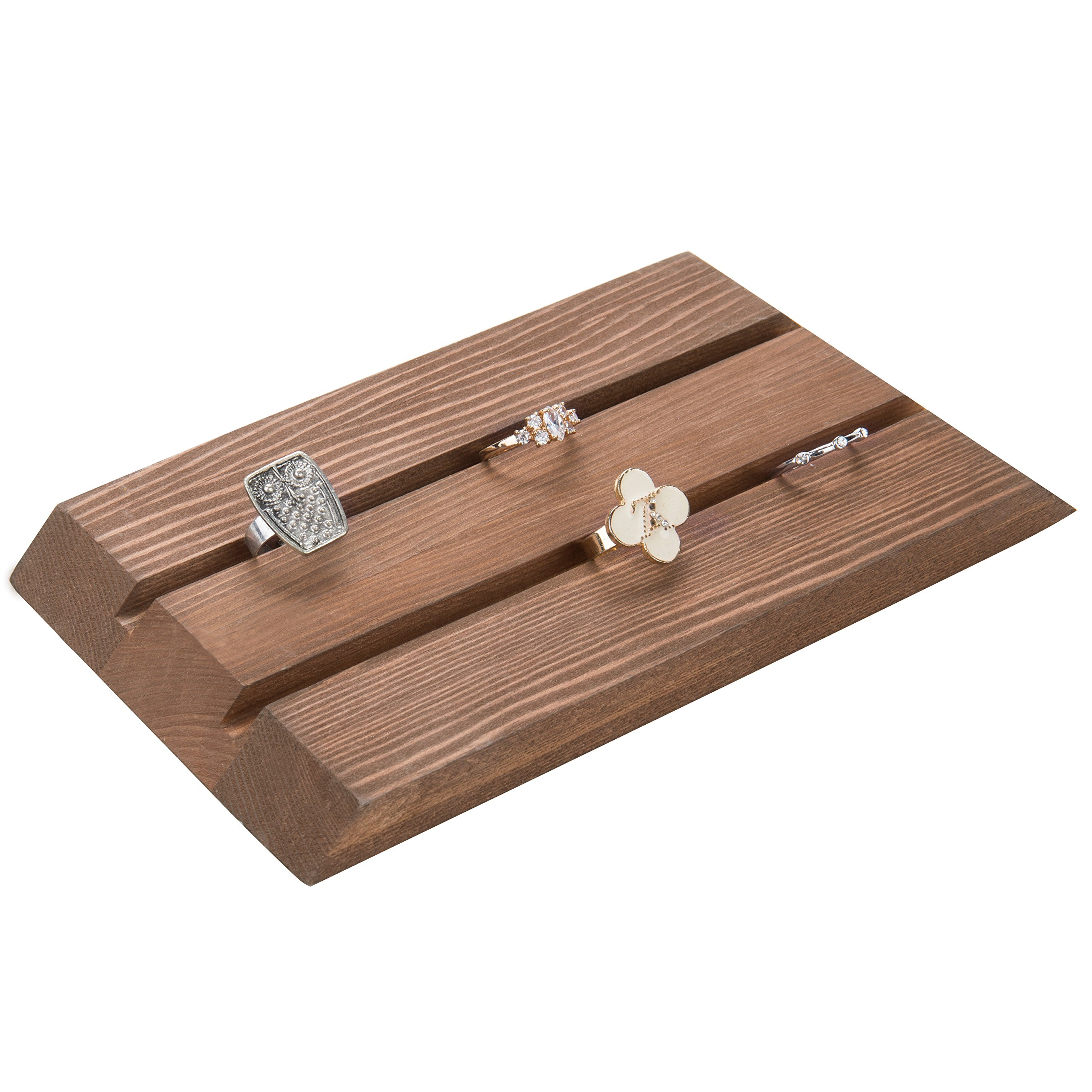 MyGift Rustic Wood Ring Tray Display Board