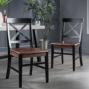 Christopher Knight Home Truda Farmhouse Acacia Wood Dining Chairs Finish Frame, Black/Walnut