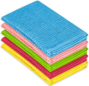 DecorRack 5 Pack Small Kitchen Dish Towels, 100% Cotton, 12 x 12 Inch Dish Cloths, Perfect Cleaning Cloth for Washing Dishes, Kitchen, Bar, Counter and Car, Spring Colors (Pack of 5)