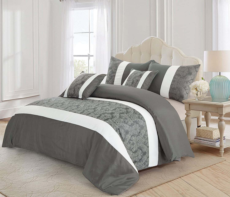 3pièces Jacquard Couvre-lit Édredon, couvertures d'oreiller, EN imitation soie de luxe de lit + Gratuit P & P, Gris et blanc, King