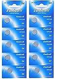 Eunicell - Pilas de botón de litio, CR1225,3V, 48mAh, 2 tabletas de 5 pilas, 10 unidades
