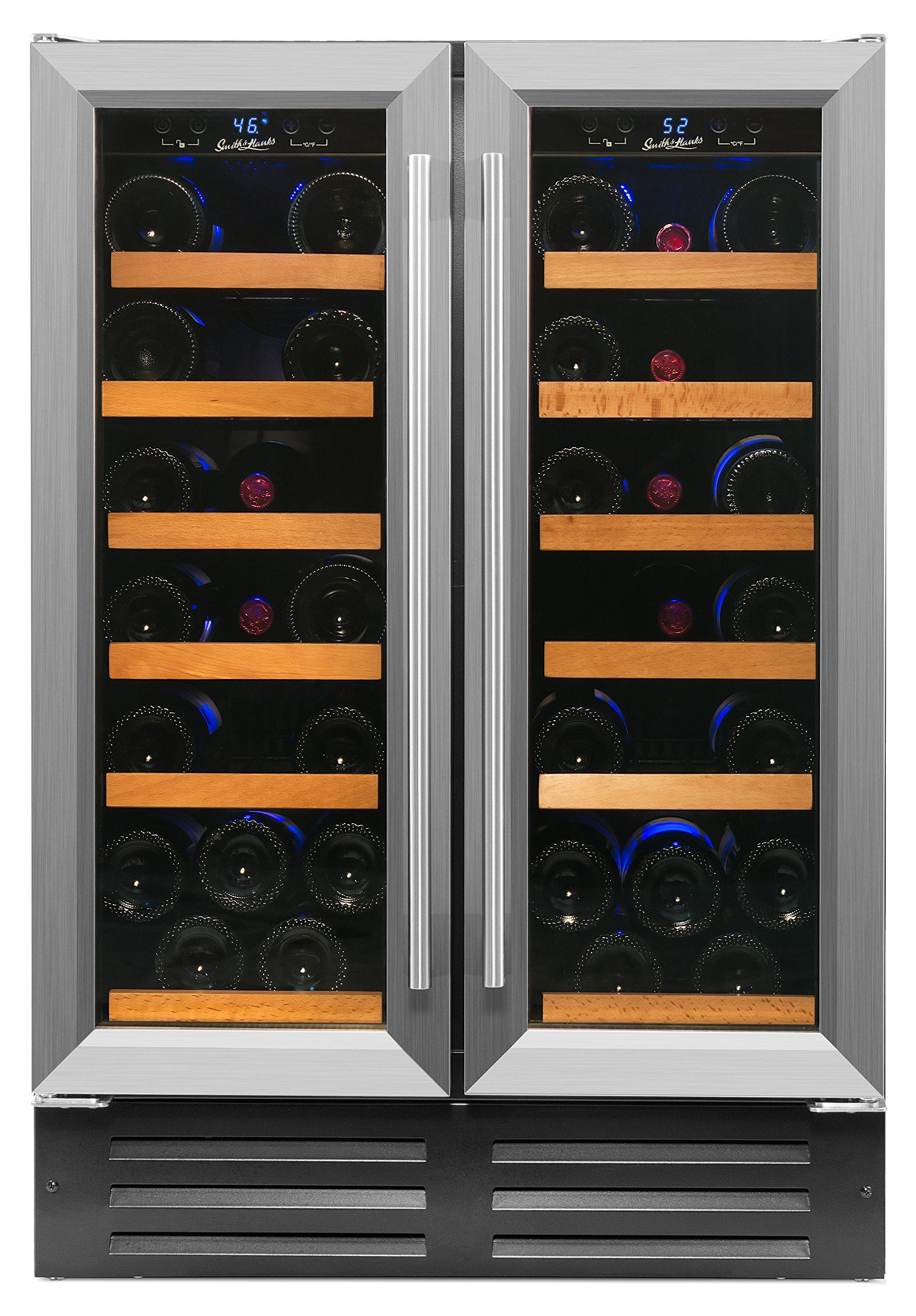 Smith & Hanks 40 Bottle Dual Zone Wine Refrigerator, Stainless Steel Door, Built-In or Free Standing, Professional Series