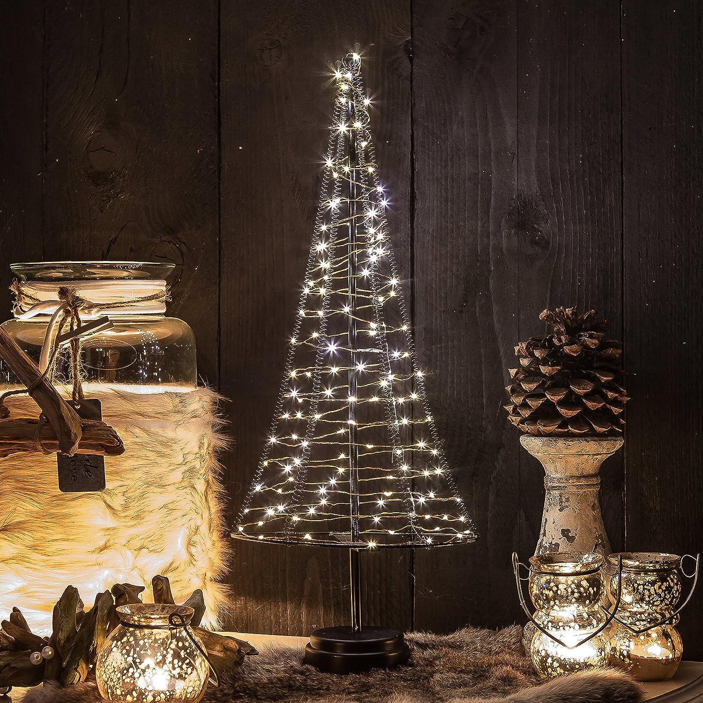 Mini Weihnachtsbaum Pyramide 50 cm aus Metall mit LED Lichterkette ...