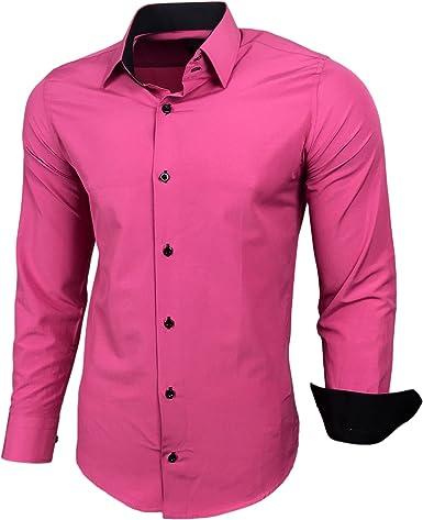 Camisa de manga larga de Baxboy, para hombre, colores de contraste, corte ajustado de negocios, RN-44-2 rosa XXL: Amazon.es: Ropa y accesorios