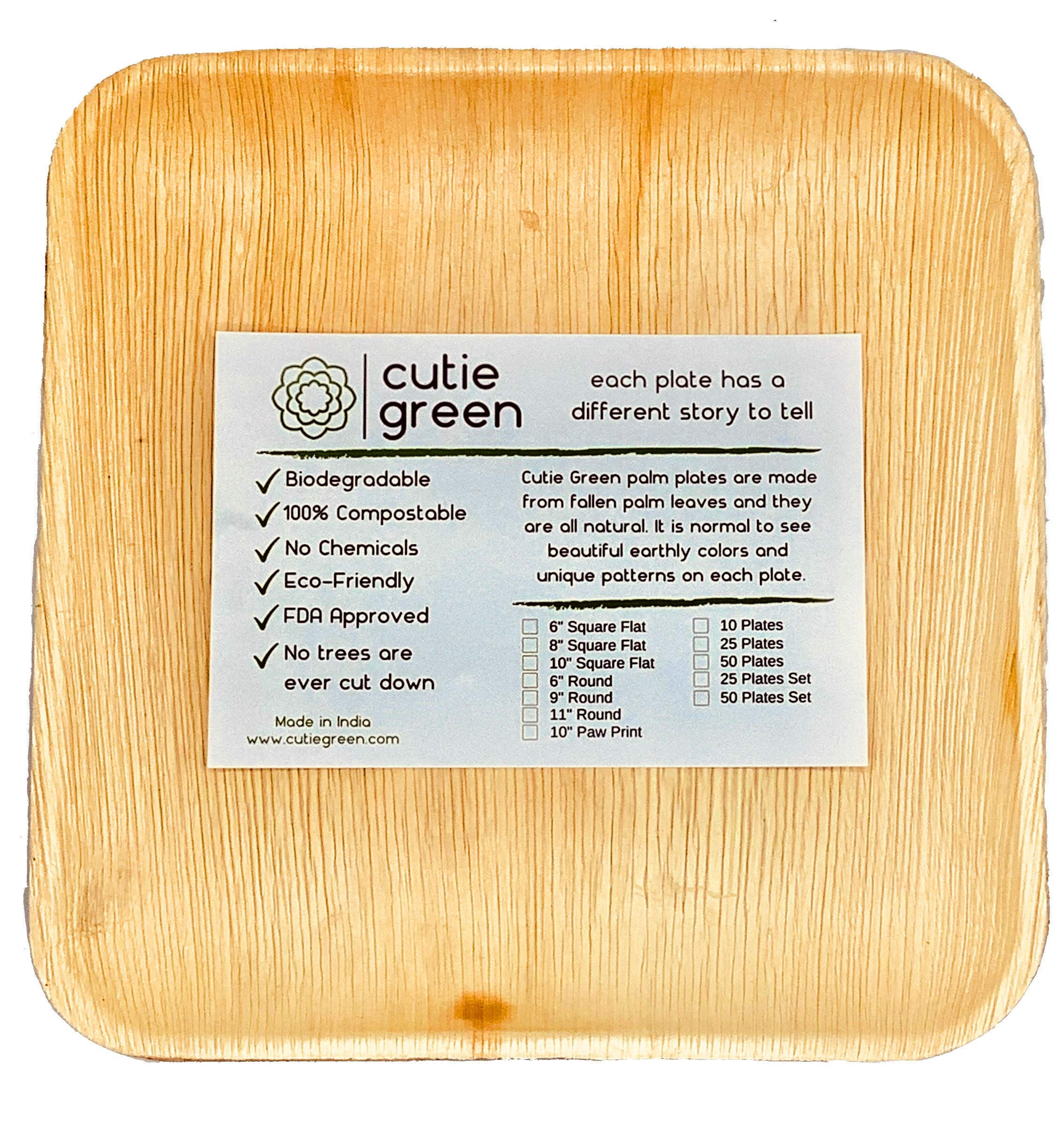 Cutie Green Palm Leaf Plates Set (Pack of 25) - 100% Eco-Friendly, Biodegradable and Compostable Disposable Plates - Heavy-Duty All Natural Dinnerware for Camping, BBQ, Outdoors (10'' Square)