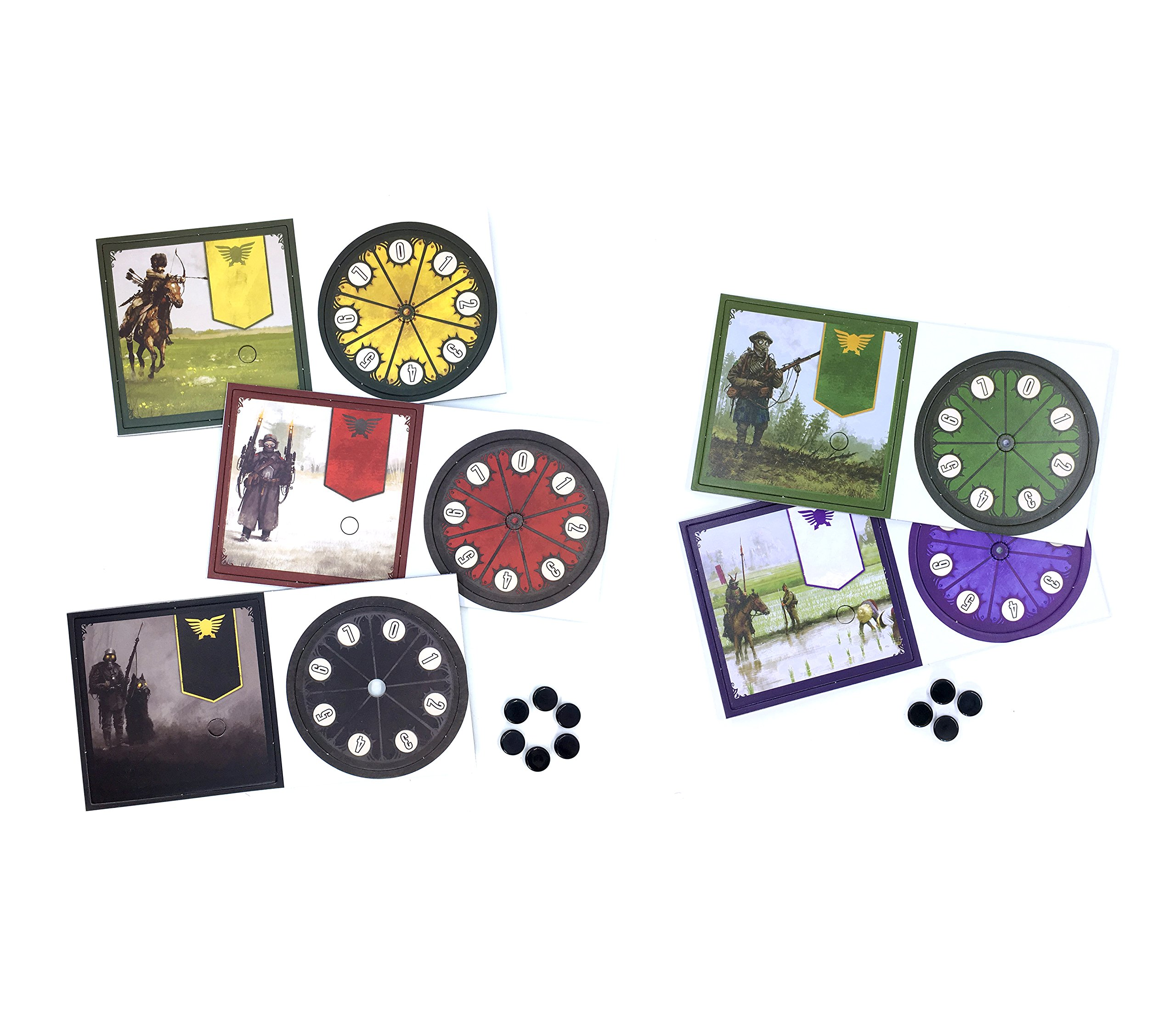 Five Promo Power Dials for Scythe the Board Game