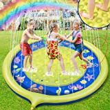 ROYI Sprinkler for Kids, 70''Backyard Non-Slip Ocean Fountain Play Mat for Babies Toddlers and Boys Girls Summer Party Water
